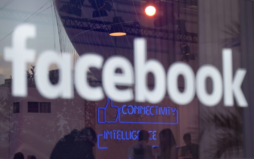 """The """"Facebook""""-logo is pictured on the sidelines of a press preview of the so-called """"Facebook Innovation Hub"""" in Berlin."""
