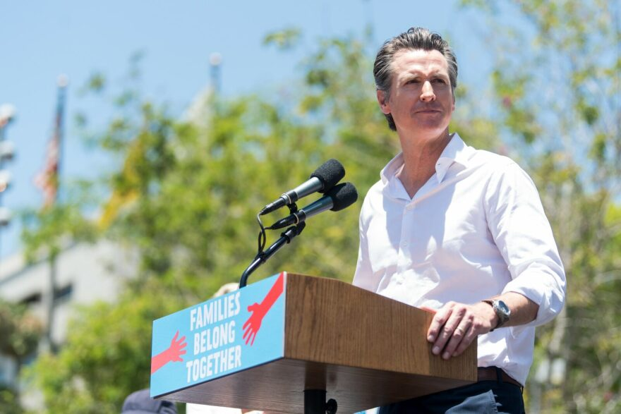 Gavin Newsom attends 'Families Belong Together  - Freedom for Immigrants March Los Angeles' at Los Angeles City Hall in Los Angeles, California.