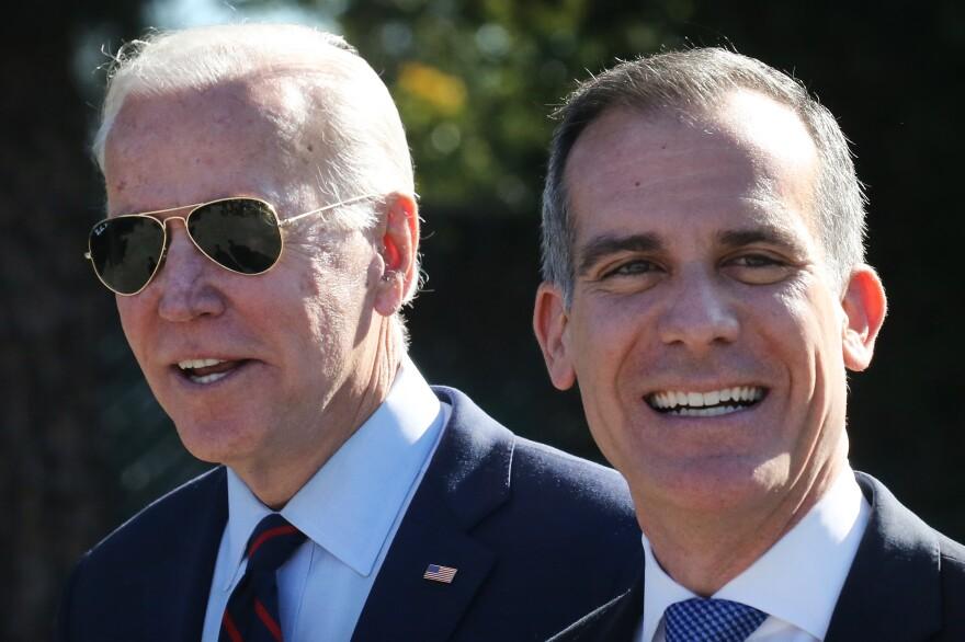 Mayor Eric Garcetti Joins Joe Biden At Los Angeles Campaign Event