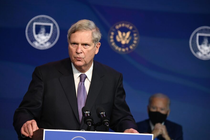 Tom Vilsack speaks  after being nominated to be Agriculture Secretary by US President-elect Joe Biden, in Wilmington, Delaware.