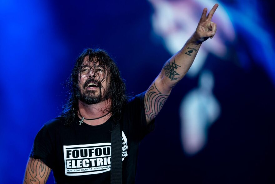 US singer and guitarist Dave Grohl of US rock band Foo Fighters performs onstage during the Rock in Rio festival at the Olympic Park, Rio de Janeiro, Brazil.
