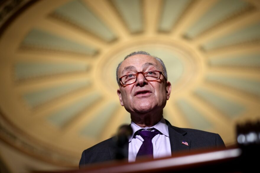 Senate Majority Leader Charles Schumer (D-NY) speaks to reporters following a Senate Democratic luncheon at the U.S. Capitol in Washington, DC.