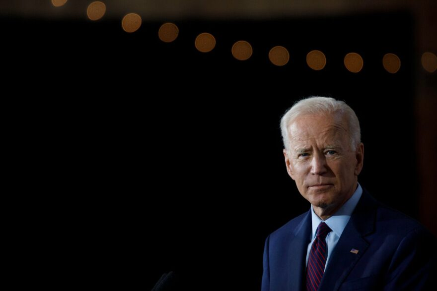 Democratic presidential candidate and former U.S. Vice President Joe Biden delivers remarks about White Nationalism during a campaign press conference in Burlington, Iowa.