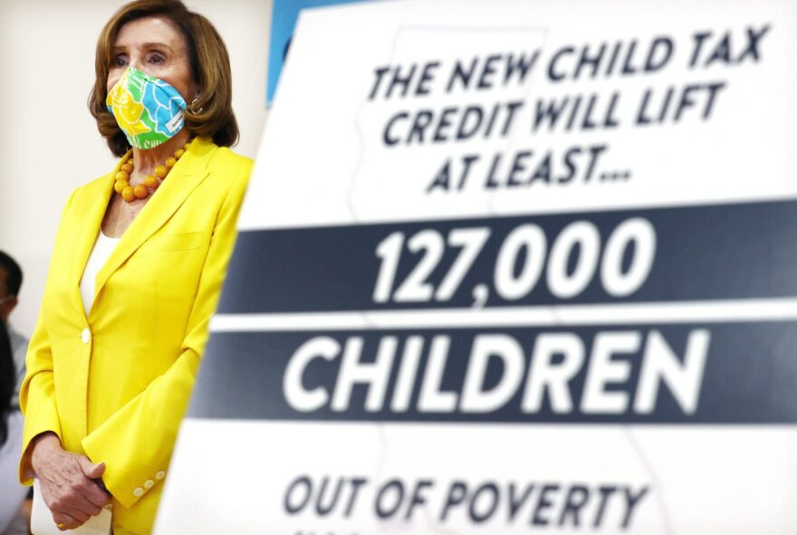 House Speaker Nancy Pelosi (D-CA) attends a press conference on the newly expanded Child Tax Credit at the Barrio Action Youth and Family Center in Los Angeles, California.