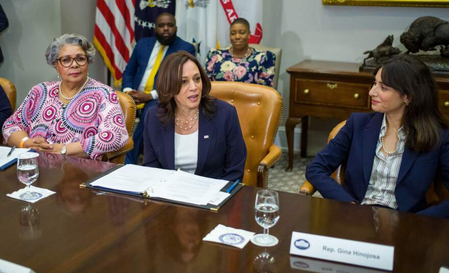 Texas Democratic lawmakers, including state Reps. Senfronia Thompson (left) and Gina Hinojosa (right), meet with Vice President Harris on June 16 at the White House.